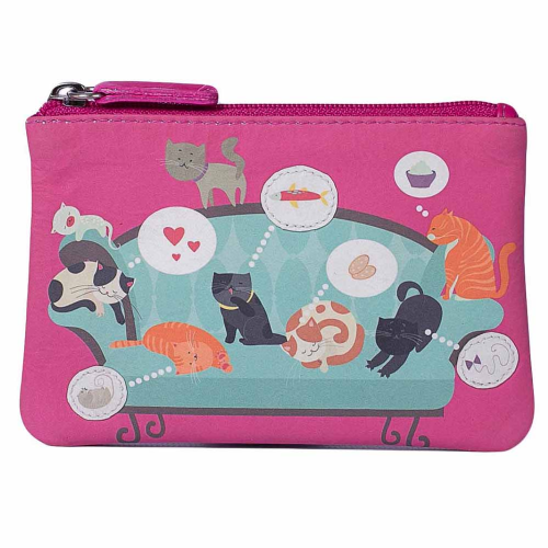 Mala Leather Pinky Collection Cats on the Sofa Coin Purse